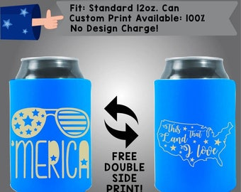 Sunglasses 'Merica This Land that I Love Collapsible Fabric 4th of July Can Cooler Double Side Print (America09)