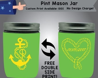 Date Pint Mason Jar Wedding Cooler Double Side Print (PMJ-W2)