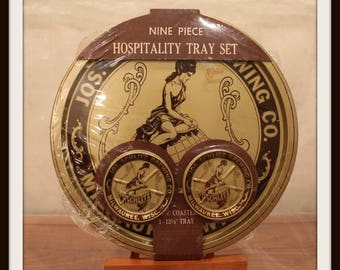 Vintage Sealed Schlitz 9 Piece Hospitality Tray And Coaster Set, Joseph Schlitz Brewing Company, Rare Bar Memorabilia, Schlitz Advertising