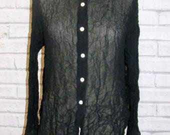 Size 12 vintage 90s loose fit long sleeve shirt sheer black viscose (IA88)