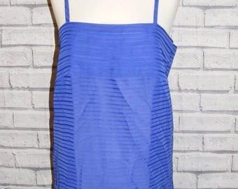 Size 12 vintage 80s strappy loose pleat cami top purple semi sheer stripe (HT61)
