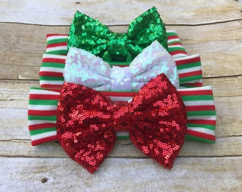 Christmas sparkle bow headband, Christmas headband