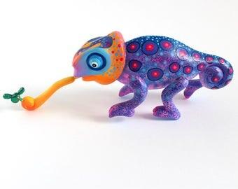 Wooden Purple Chameleon