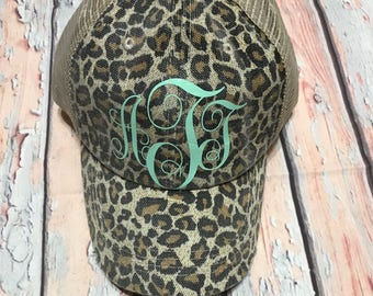 Monogram Trucker Hats, Monogram Hat, Distressed, Trucker Hat, Leopard Print Hat