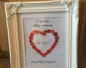 Personalised Anniversary Frame 25th, 30th, 40th, 50th
