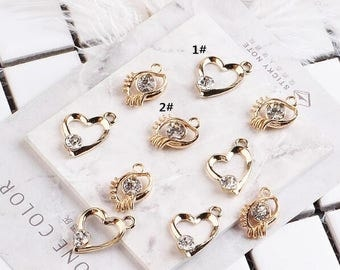 10PCS 21*18MM Crystal Charms Heart Charm Eyes Charm Diy Jewelry Accessories Craft Supplies