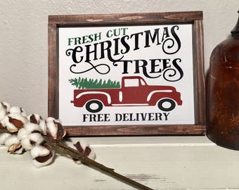 Christmas Tree Sign, Christmas Sign, Christmas Decor, Red Truck With Christmas Tree, Holiday Decor, Fresh Cut Christmas Tree Sign, Farmhouse