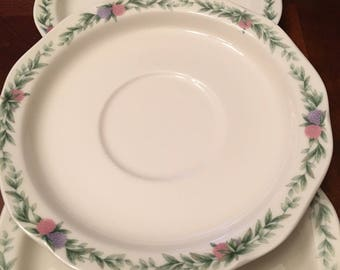Noritake Conservatory Set of 3 Saucers Gala Cuisine, Floral, Multimotif, Scalloped