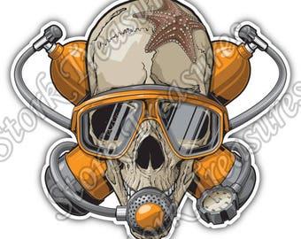 Dead Scuba Diver Skull Deep Sea Dive Car Bumper Vinyl Sticker Decal