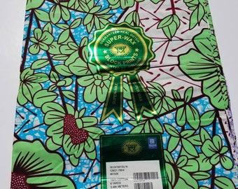 Off White & Green Vlisco African Fabric; Ankara Fabric; African Clothing; African Fabric in yard; African Headwrap;Ankara Fabric in yards