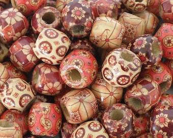 "100 wood beads ""Flower"" 17x16mm"