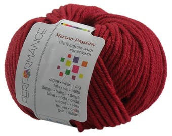10 x 50g knitted yarn merino passion Superwash, #05 fuchsia-Red