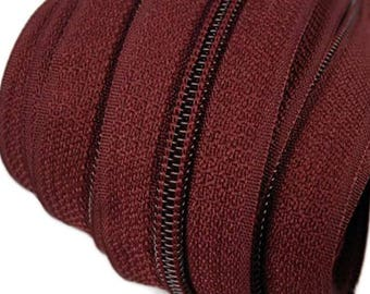 6m of endless zipper 5mm with 15 zippers and ends 179 dark red