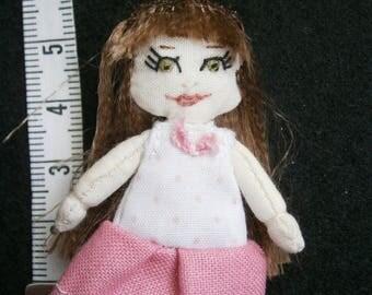 miniature rag doll 5.5 cm tall