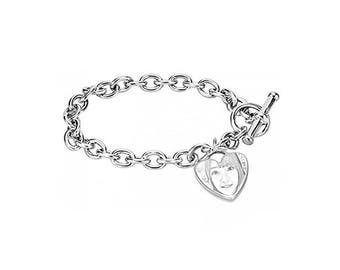 925 Sterling Silver Personalized Photo Bracelet Custom Your Picture Pendant