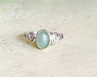 Aventurine Sterling Silver Ring; Mystic; Heart Chakra Ring; Good Luck