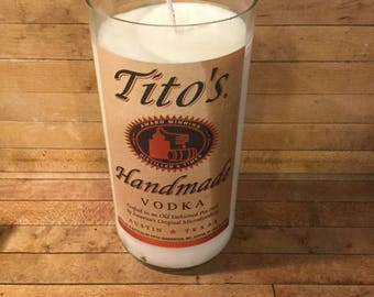Custom Made Scented 1 Liter Soy Wax Tito's Vodka Candle. Veteran Owned Business. Made in America.
