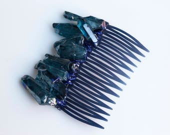 Blue Mermaid Crystal Clip