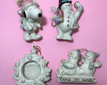 Vintage Lot of 4 Lenox Christmas Holiday Ornaments - Tree - Frosty - Snoopy - Snowman Sled