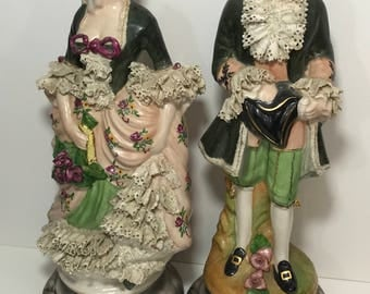 "Vintage Porcelain Victorian Figurine Couple With Lace 16"" inches tall"