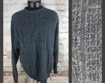 Vintage Gray Bill Blass Sweater - Mens Sweater XL - Extra Large Cosby Sweater - 80s Sweater 90s Sweater