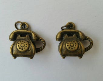 2 x antique brass telephone charms with split rings. Journal Diary Midori Hobonichi Travellers Notebook complement. Jewellery.