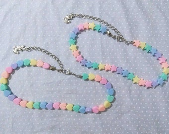 Rainbow Hearts/Stars Beaded Choker (Fairy Kei, Spank!, Decora)
