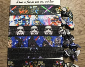 Star Wars Inspired Hair Ties Hair Elastics - Light Saber, Droids, Storm Trooper, Darth Vader, Yoda, BB8, R2D2