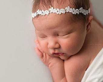 White Newborn Tieback, Newborn Crown, Newborn Headband, White Tieback, Natural Tieback, Baby Girl Prop, Newborn Photography, Newborn Prop