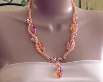 Orange crystal necklace, crystal bead necklace, fantasy necklace, orange crystal bead necklace, orange necklace, tangerine orange necklace
