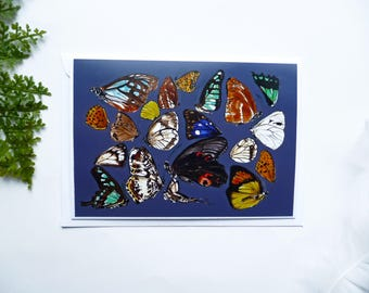 SALE Handmade and Hand Drawn Butterflies Blank Card. Detachable Print. Lino Print. Greetings Card.