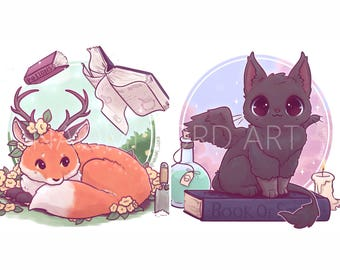 """Deerfox and Ravencat witches familiars (Pip and Alastair) Stickers and/ or Prints (6x6 or 8x8"""")"""