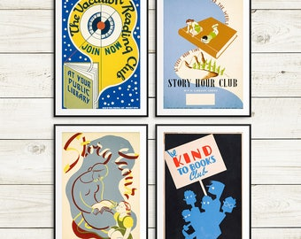 Bookish gifts, gifts for young readers, reading posters, book posters, library posters, library decor, reading nook decor, book club gift