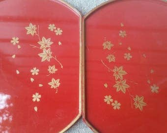 Vintage Stackable Burnt Red and Maple Coasters