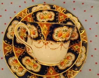 Vintage Salisbury cobalt / navy blue china trio - Teacup / cup and saucer, side / dessert plate late 1950s / 1960s design 2348 afternoon tea