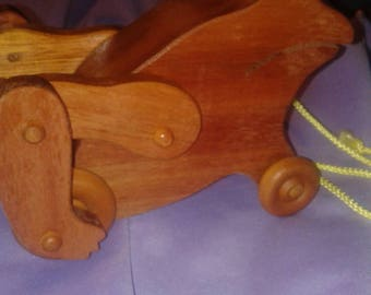 Handmade Wooden Vintage Frog Pull Toy & 1990 Fisher Price Solo w/miniature sheep~  Ships FAST and FREE!!