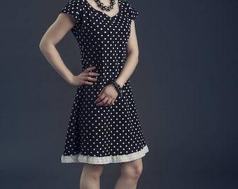 Dress P' short basic little black cotton jersey white polka dots, black dress and white polka dots, black short dress white polka dots dress black tshirt