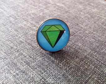 Cabochon ring adjustable green diamond pattern