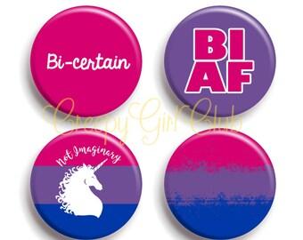 Bisexual Pride Pin Set: Bi AF, Bi-Certain, Not Imaginary Bisexual Unicorn, Grunge Pride Flag | Bi Pride Queer LGBTQA+ Bisexuality Gay Pride