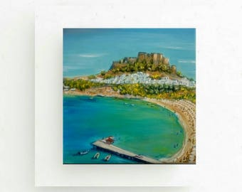 Gifts & mementos,Original Greek island painting Rhodes painting,Lindos Rhodes mement,Coastal art,Wedding gift,summer decoration,Seascape art