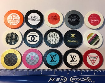 Chanel, Coach, Guess, Hermes, Christian Louboutin, and Louis Vuitton circle wood magnets - FREE SHIPPING - Set of 15