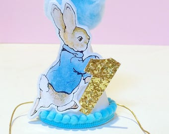 Mini Peter Rabbit Themed Party Hat || Mini Party Hat || Peter Rabbit Party || First Birthday || Cake Smash Hat ||