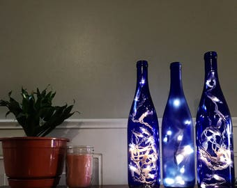 Rare Blue Wine Bottle Lights