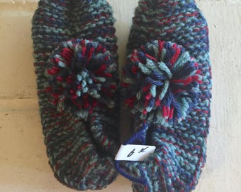 Green, Blue, Red Slippers, Christmas Slippers, Colorful Slippers, Children's Slippers, Adult's Slippers, Baba Slippers, Yarn Slippers, Size6