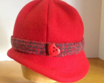 Red Melton Wool Cloche Hat - Large