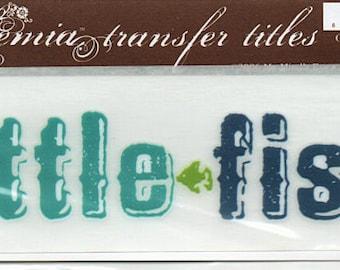 Little Fish Title Rub On Transfer Embellishments Cardmaking Crafts My Mind's Eye Bohemia