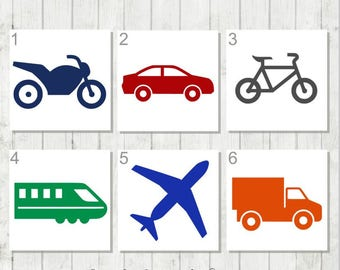Truck Decal, Car Decal, Train Decal, Transportation Decal, Decal for Boys, Bike Decal, Personalized Kids Decal, Airplane Decal, Gift for Son