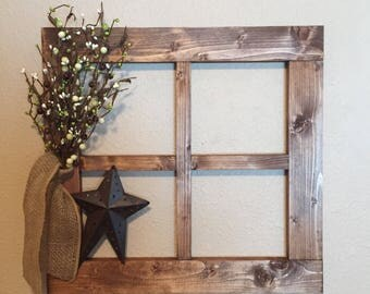 Beau Large Primitive Country Wall Decor With Primitive Pip Garland Decor For  Living Room Handmade Wood Window