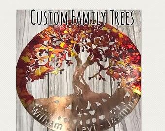 Family Tree, Custom family Tree, Tree of Life, Metal wall art, Custom metal design, wall hanging, painted tree of life, laser cut art, art