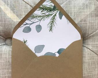 Greenery Liner + Envelope | A7 Euro Flap Envelope  | Greenery Envelope Liner
